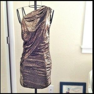 bebe One Shoulder Metallic Gold Leopard Dress M